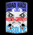 motorcycle gasoline labet tee graphic design vector image