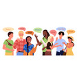 multilingual people greeting young man woman say vector image