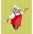 mustachioed cartoon chef gesturing steps vector image vector image