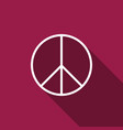 peace sign with long shadow hippie symbol peace vector image