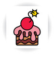 piece of cake with sugar glaze and cherry-bomb vector image vector image