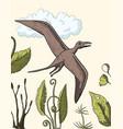 pteranodon dinosaur in its habitat vector image