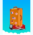 realistic traveler luggae - vintage suitcase vector image vector image
