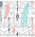 Seamless Aztec Tribal pattern with feather and vector image vector image
