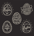 Set of eggs with Easter greeting type design vector image