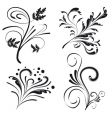 set of floral design elements vector image