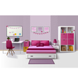 Teen Girl Room Interior Realistic Image vector image