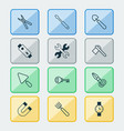tools icons set with pitchfork battery shovel vector image vector image