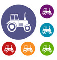 tractor icons set vector image vector image