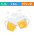 Two clinking beer mugs with fly off foam icon vector image vector image