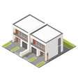 Two story connected cottage with flat roof vector image vector image