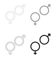 venus and mars symbol the black and grey color vector image vector image