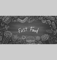 vintage horizontal banner with fast food vector image vector image