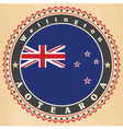 Vintage label cards of New Zealand flag vector image