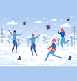 winter outdoor activity - people fun together vector image vector image