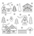 winter outline set houses and trees vector image vector image