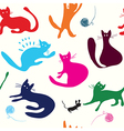 Cats playing seamless pattern funny vector image