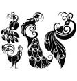 decorative peacock set vector image