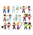 kids professions characters set vector image