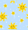 seamless pattern with funny suns and stars vector image
