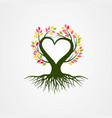 abstract tree with branch heart shaped vector image vector image