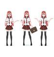 beautiful anime manga schoolgirl in skirt vector image
