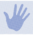 Blue hand print on canvas texture vector image vector image