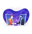 businessmen shaking hands in smartphone vector image vector image