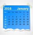 Calendar january 2016 colorful torn paper vector image