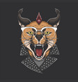 caracal cat punk head vector image vector image