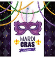 card with mask and necklace balls to mardi gras vector image