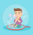 caucasian boy sitting inside a big soap bubble vector image