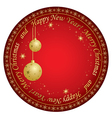 christmas card with gold decorations vector image