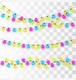 christmas lights colorful xmas garland vector image vector image