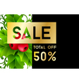 Christmas sale banner with holly leaves vector image vector image