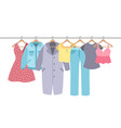 clothes on hangers garment with hanger and vector image