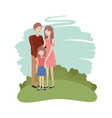 couple of parents with daughter avatar character vector image vector image