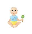 cute smiling little boy sitting with a rattle vector image vector image