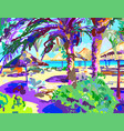 digital painting of summer beach landscape in vector image vector image
