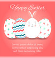 easter eggs set collection and bunny on pink vector image vector image