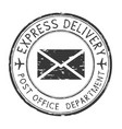express delivery black round postmark scratched vector image vector image