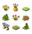 Flash Game Gardening Elements Set vector image vector image