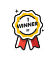 flat design number one first place winner ribbons vector image