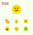 flat icon expression set of frown laugh vector image vector image