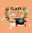graduation card with diploma and hat vector image vector image