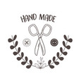hand made sewing frame with scissors vector image vector image