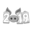 happy new year background pig face silver sale vector image vector image