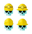 hard hat skulls flat icon set vector image
