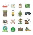 hiking icons set flat vector image vector image