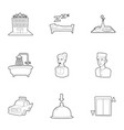 inn icons set outline style vector image vector image